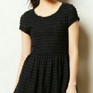 Anthropologie black textured dress multi neps